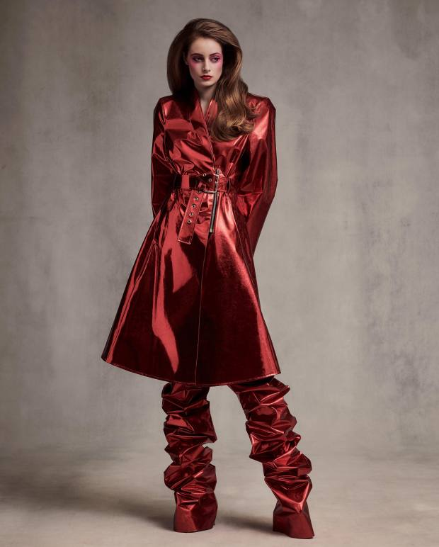 Gareth Pugh metallic foil trench, and matching trousers, both price on request