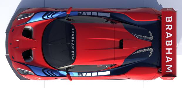 An elevated view of the BT62 with red bodywork – the car features a carbon-fibre chassis housing a Brabham-designed, 5.4-litre V8 engine producing 700 horsepower