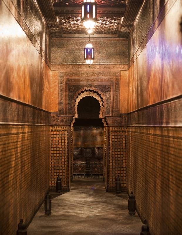 Classic Moorish tilework decorates a passageway in the palace Lutens is restoring.