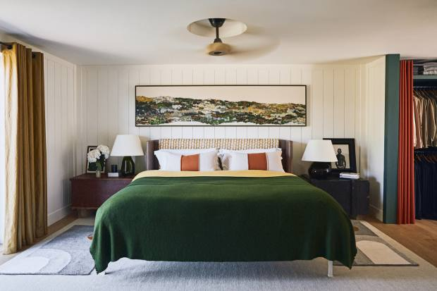 The master bedroom with its artwork by Graeme Black
