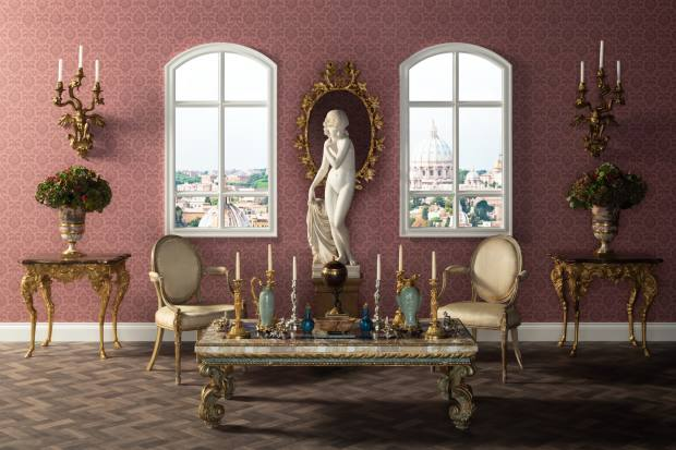 The Roman palazzo salone, furnished with giltwood German rococo console tables, £12,000-£18,000, and two George III parcel-gilt armchairs, £25,000-£50,000