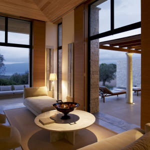 One of 33 private villas at Amanresorts' newest venture, Amanzoe, in the Greek Peloponnese at Porto Heli