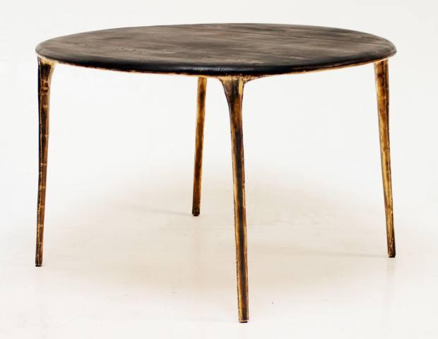 Valentin Loellmann golden polished-brass andoak Brass table, priceonrequest