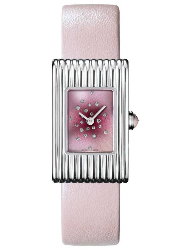 Boucheron diamond and steel Reflet watch on leather strap, price on request