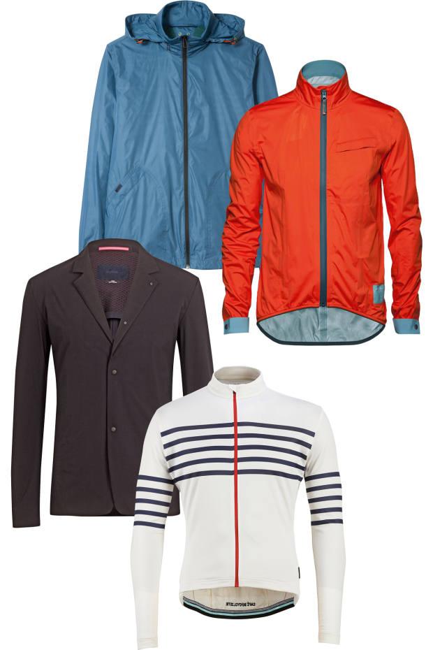 From top: PS Paul Smith Harrington jacket, £250. CHPT3 K61 waterproof jacket, £320. Rapha Shadow blazer, £400. Café du Cycliste Breton merino/silk Claudette jersey, £160
