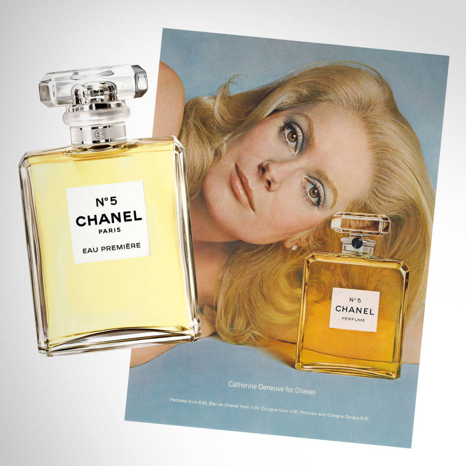 From left: Chanel No 5 Eau Première, £68 for 50ml EDP. A 1973 advertisement for Chanel No 5