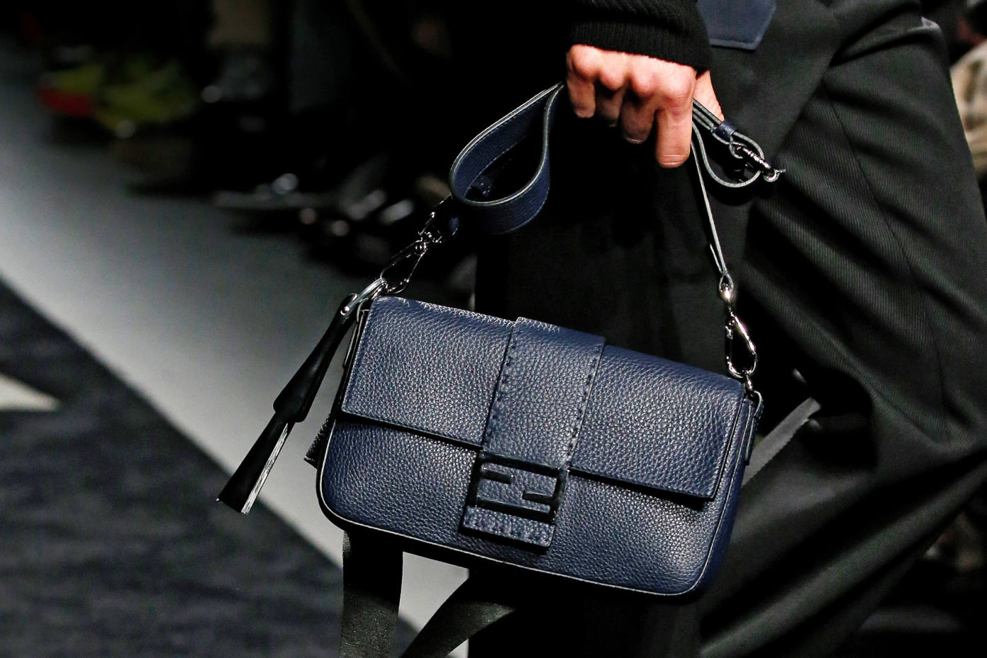 Fendi's pebbled leather Sellaria bag in navy, £2,090