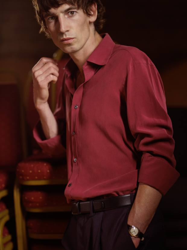 Two designs of regular-fit shirts feature Turnbull & Asser's signature collar and three-button cuffs in burgundy, pictured, and cream