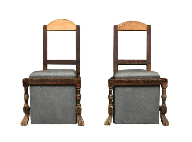 James Plumb To Honour To Treasure antique wooden chair frames with cast-concrete seats, £4,600 for the pair