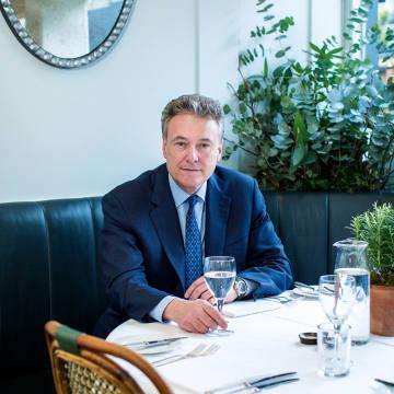 Simon Freakley in Clarke's restaurant in west London