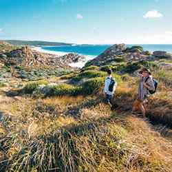Trekking between Smiths Beach and Injidup Beach with Walk into Luxury, which offers guided tours of the Margaret River area