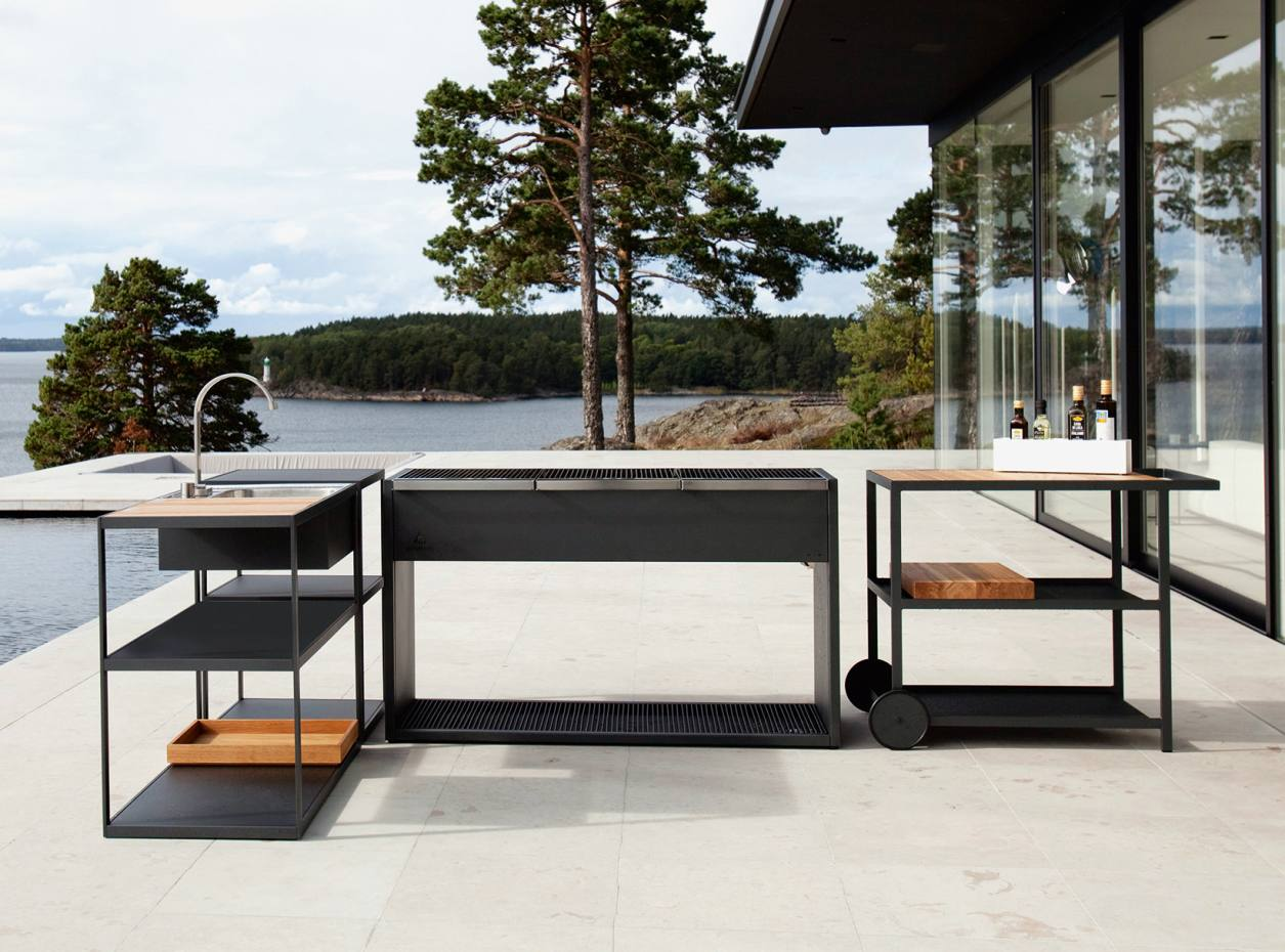 Röshults steel barbecue, from about £3,435, steel and teak trolley, £1,250, and sink, £2,680