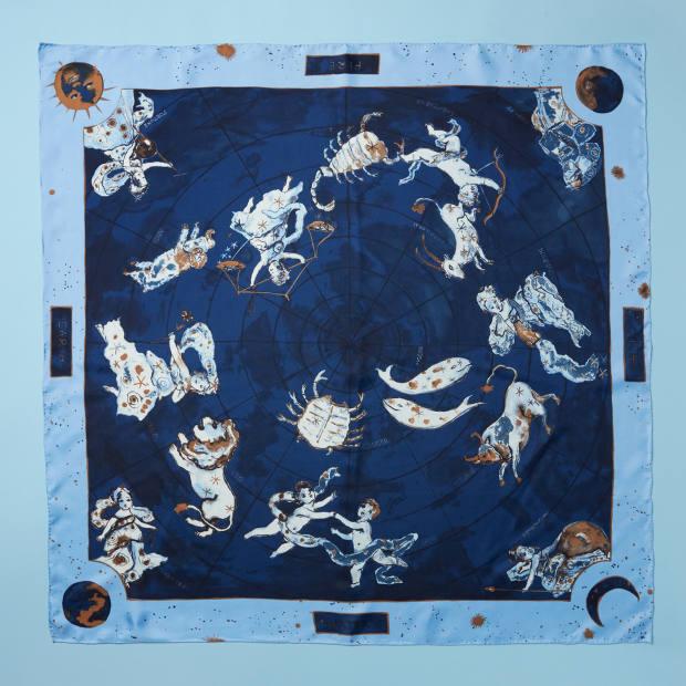 Silk Zodiac scarf, $178