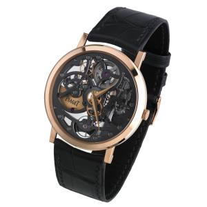 Piaget Altiplano Skeleton watch in rose gold with alligator strap, £42,000. Also in white gold