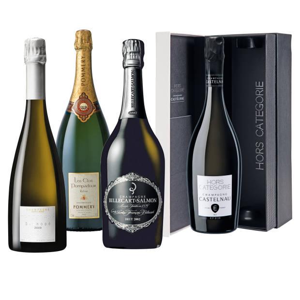 Champagne Devaux 2009 Sténopé, £149. Champagne Pommery Les Clos Pompadour NV Brut (magnum), £696. Champagne Billecart-Salmon 2002 Cuvée Nicolas-François Brut, £130. Champagne de Castelnau Cuvée Hors Catégorie, £85