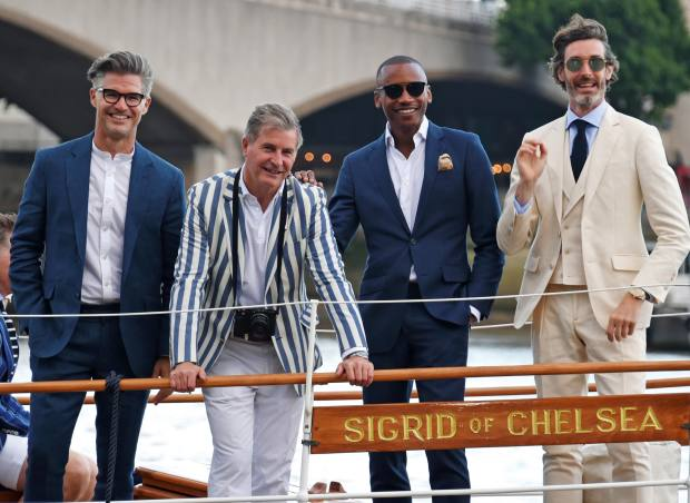 With (from left) actor Eric Rutherford, Hackett co-founder Jeremy Hackett and model Richard Biedul at a Hackett London launch event at Henley Royal Regatta in June