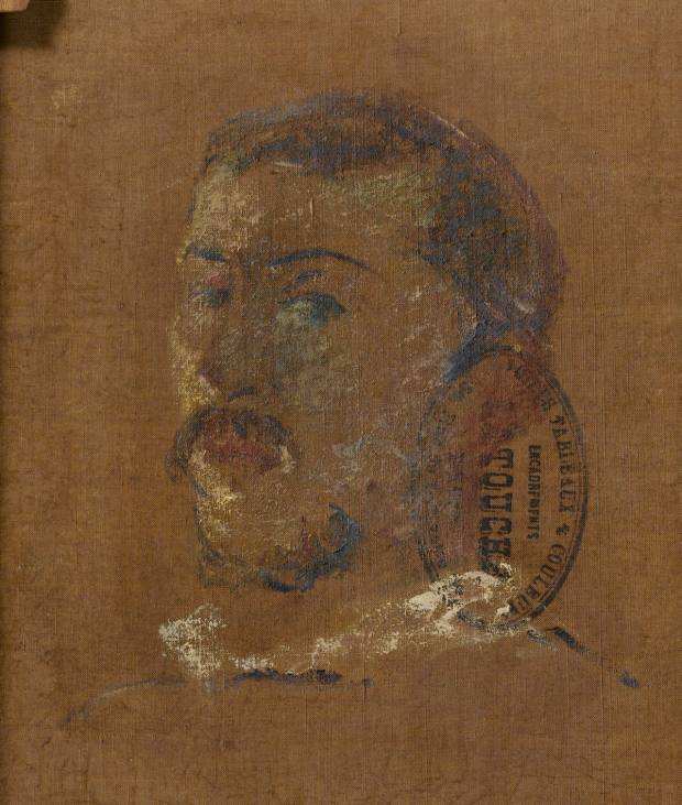 One of the two self-portraits on the back of Gauguin's early masterpiece