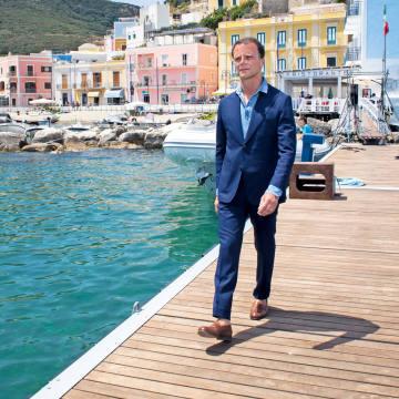 Achille Salvagni at the port of Ponza