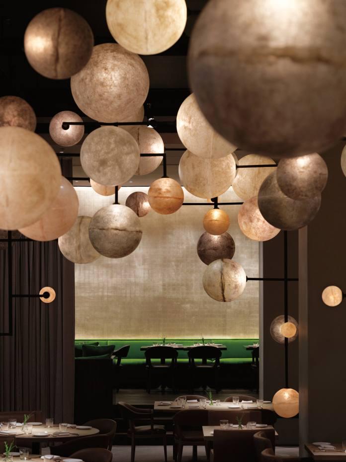 DimoreStudio metal andfibreglass Lampada 061 lighting installation, from €10,000, designed forChicago's Pump Roomrestaurant