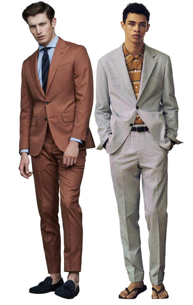 From left: Thom Sweeney wool suit, £1,580. United Arrows cotton/silk suit, $1,000