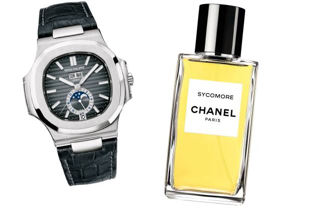 From left: Patek Philippe Nautilus annual calendar watch, from £30,120. Chanel Sycomore fragrance, from £150 for 75ml