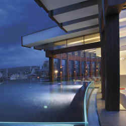 Looking out over the city from the rooftop swimming pool of the new Le Gray hotel in Beirut.