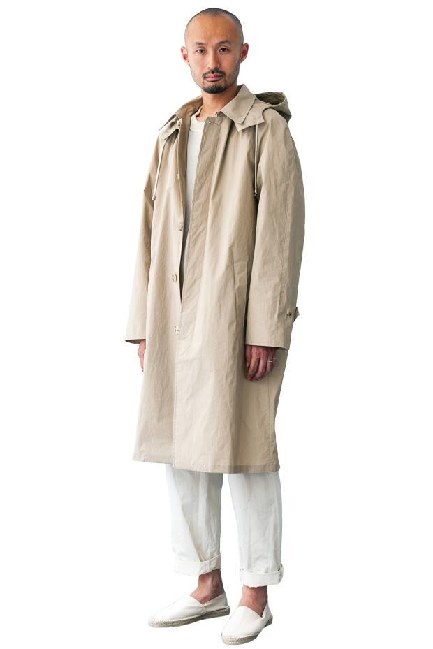 De Bonne Facture Japanese cotton Giant Grandad raincoat, £675, cotton T-shirt, £150, and Japanese cotton trousers, £270