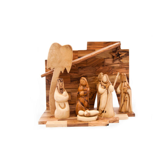 Olive-wood nativity scene, £130.