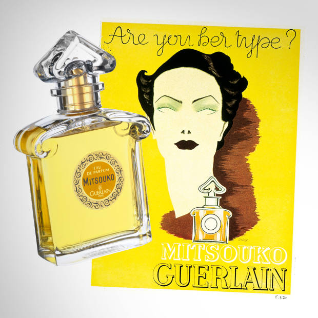 From left: Guerlain Mitsouko, £77.50 for 75ml EDP. A 1935 advertisement for Mitsouko