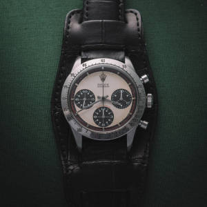 The Paul Newman Rolex Daytona on Jean Paul Menicucci Bund strap, which recently sold for $17.8m at auction
