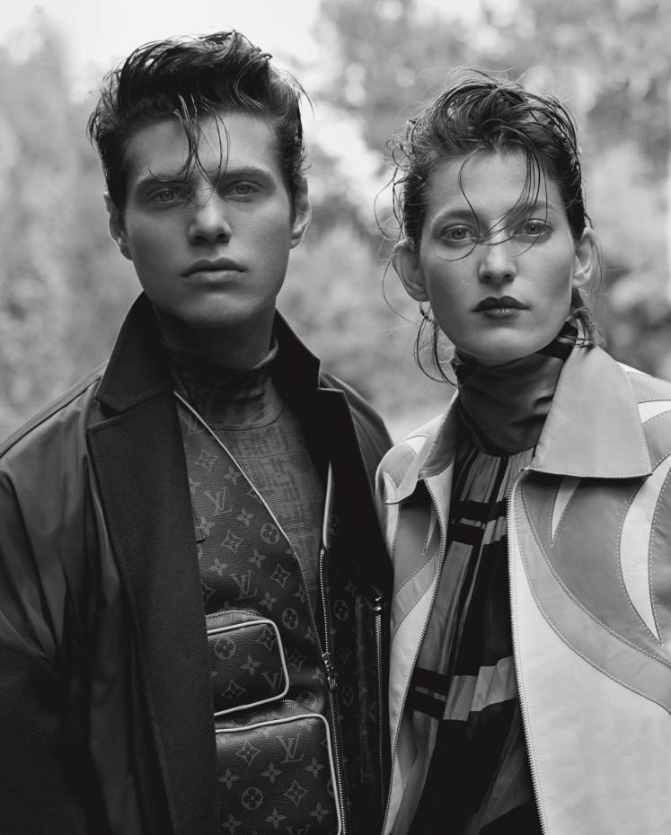 Antonino wears Valentino wool coat, £1,650. Louis Vuitton leather Monogram Admiral jacket, £4,850. Diorsilk rollneck, £840. Jennae wears Lanvin leather Parrot jacket, £3,250. Zimmermann silk rollneck dress, £1,200