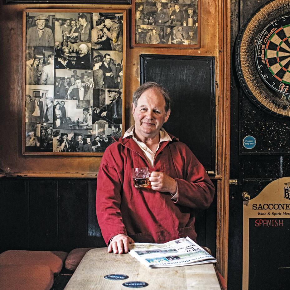 Michael Morpugo at the Duke of York pub, near his Devon home