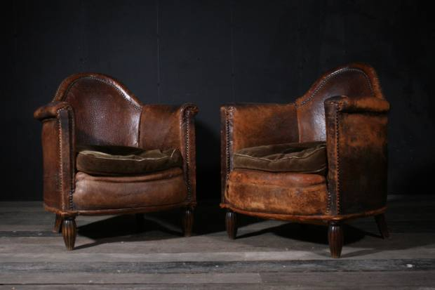 A selection of leather club chairs, sourced in the UK andFrance, are often available, priced £1,500-£2,500