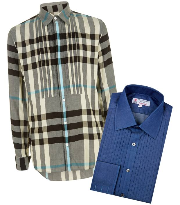 From left: Burberry check cotton shirt, £295, and Turnbull & Asser denim/cashmere shirt, £225