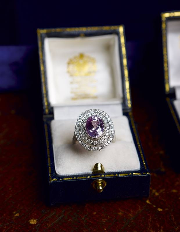 A 5ct pink sapphire and diamond dress ring in art-deco style.