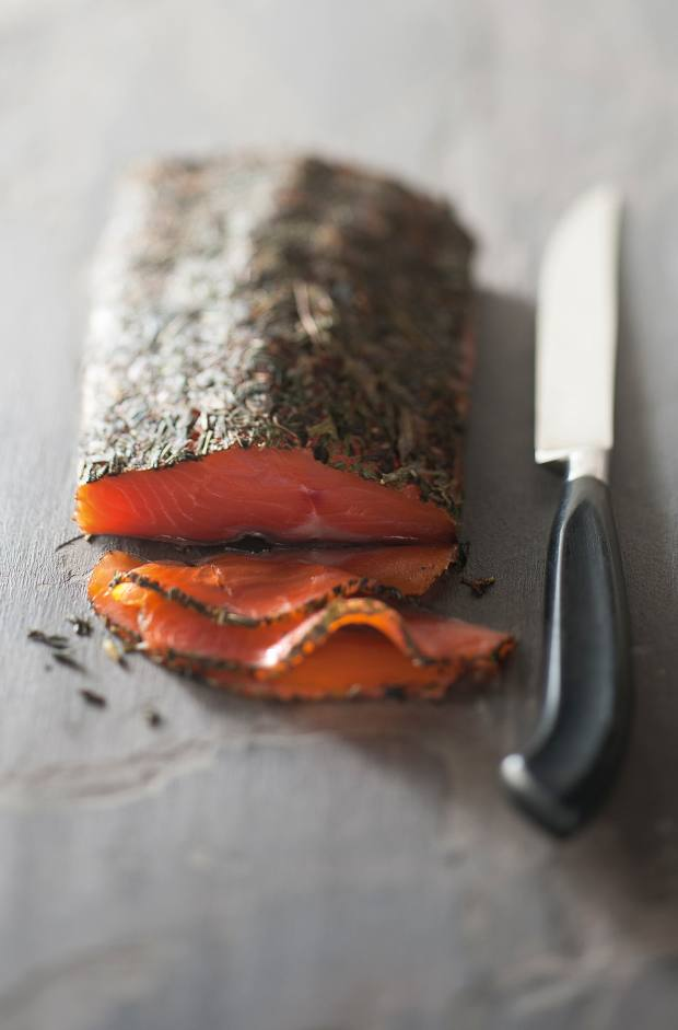 Herbal-cured smoked trout from the Armanini brothers in Trentino, Italy, available from Originàrio