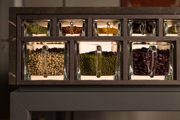 Lead-crystal spice drawers that can be housed in the Scullery Table preparation island
