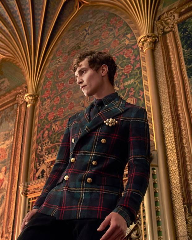 Ralph Lauren twill sports coat, £695, cotton Pine shirt,£105, cotton Sullivan jeans, and wool tie, £105. Gillian Horsup faux-pearl vintage brooch, £55