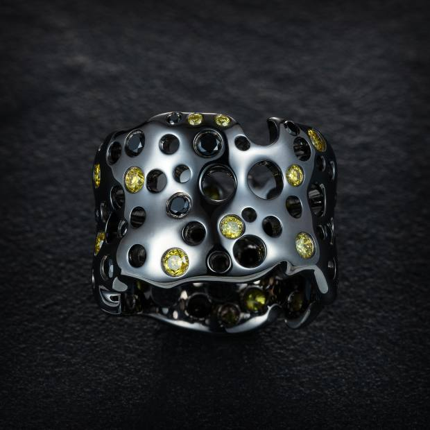 Just Rebel Star black gold and yellow and black diamond Touch Me ring, £4,600