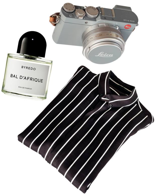 McGregor's Leica D-Lux 7, £995. His Haider Ackermann shirt. Byredo Bal d'Afrique, £105 for 50ml EDP