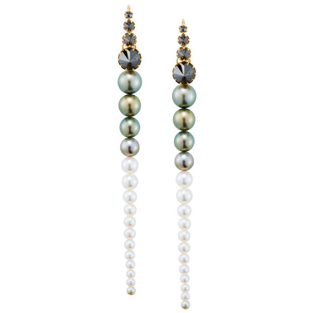 Mizuki gold, black diamond and pearl earrings from the Privé collection, $16,800, exclusive to Bergdorf Goodman