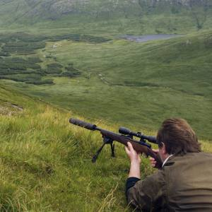 Preparing to take a shot at a hind on the Benmore Estate