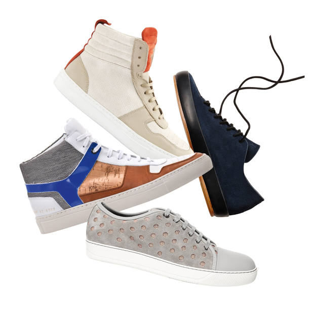 Clockwise from top left:  National Standard suede, nubuck and nappa-leather high-tops, €238. Feit suede low-tops, £270. Lanvin suede and mesh trainers, €370. Common Projects/Tim Coppens leather high-tops, £526