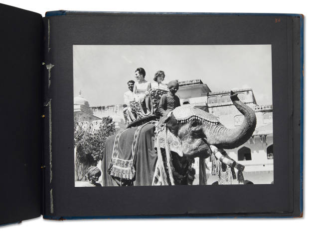 The sisters captured riding an elephant in one of the historically important photographs in the Indian album