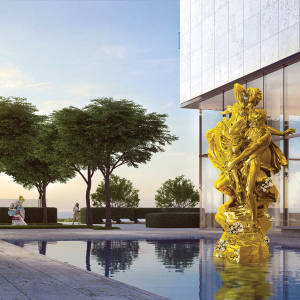 Pluto and Proserpina and (in background) Ballerina both by Jeff Koons, at Oceana Bal Harbour, Florida