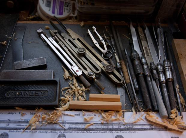 Tools in Darch's workshop.