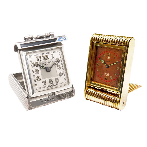 From left: 1940 Rolex silver and enamel travel clock, $4,400 at N Green & Sons; 1940s Cartier gold travel clock, £20,000-£50,000 at SJ Phillips