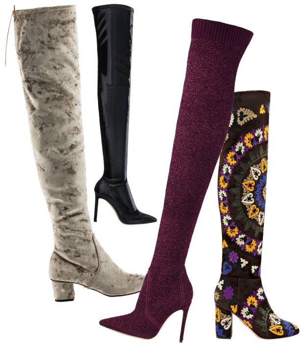 From left: Charlotte Olympia velvet block-heeled Sky High boots, £795. Jimmy Choo techno fabric pull-on boots, £1,150. Gianvito Rossi knitted bouclé cuissard boots, £1,515. Aquazzura embroidered suede Biba boots, £1,425