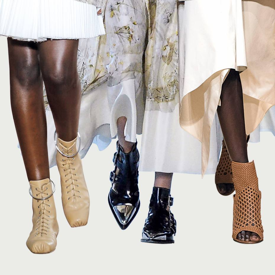 From left: Jil Sander goatskin Combat boots, £845. Alexander McQueen leather and silver toecap boots, from £930. Salvatore Ferragamo leather mesh heeled sandals, price on request