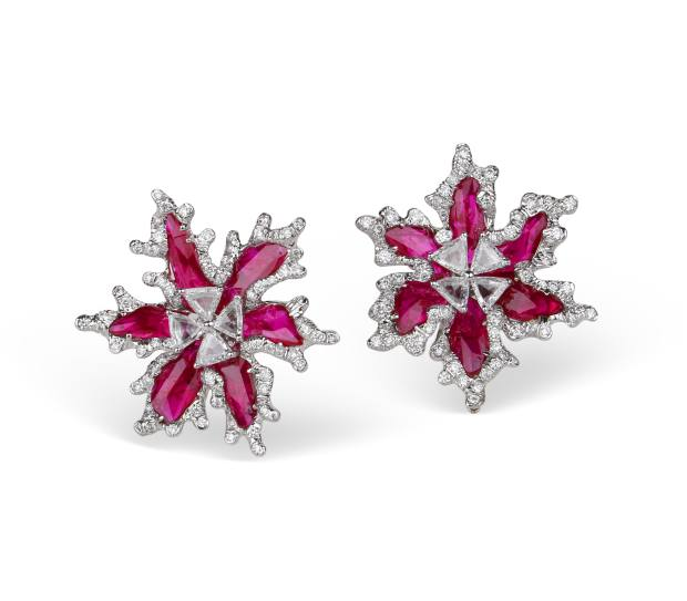 Gold, diamond and Mozambique ruby earrings
